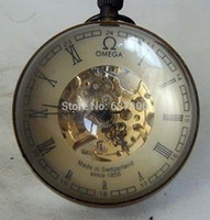 antique brass clock - Collectibles China OLD BRASS GLASS pocket watch BALL working mechanical clock