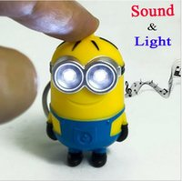 trinkets - Despicable Me Talk minions vocalization LED D keychain Creative Trinket Gift For Christmas flashlight keyring For DHL a853