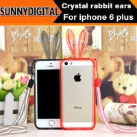 Wholesale High quality Crystal baby rabbit sillicon mobile phone case rabbit ears protective cover for iPhone6 for Iphone plus