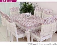 lace tablecloth - 2015 New Pastorals Piece Lace Tablecloths Pieces Chair Cover Pieces Cushion As a Set