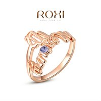 Cheap ROXI Brand Chirstmas Gift Rose Gold Plated Statement Wintersweet Wedding Opal Ring Fashion Jewelry For Women