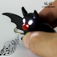 Promotion bat sounds - New Bat Keychain Kids Flashlight Torch Sound Toy Cartoon Keychain Promotion Novelty Gift Lover Children Christmas Gift