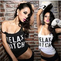 Wholesale New Fashion Ladies Female Best Bitch Relax Letter Print Sleeveless Summer T Shirt Shirt Tank Women Tops Tank Tops Party Dancing Top