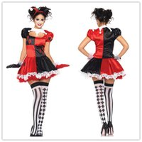 adult female clown costume - Sexy Halloween Costumes For Women Cosplay Adult Female Harlequin Costume Back Zipper Lace Trimmed Dress Set H39167