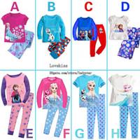 Wholesale Kids Underwear Baby Pajamas Kids Sets Childrens Sleepwear Boys Girls Spring Summer Kids Pajamas Children Clothes Kids Clothing C1042 FZ Elsa