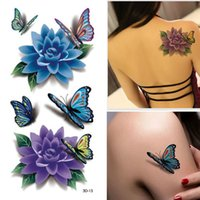 rose tattoos - 1 Sheet D Colorful Waterproof Body Art Sleeve DIY Stickers Glitter Temporary Tattoos Fake Flower Butterfly Rose Body Gift