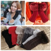 Wholesale 2013 New Fashion Cute Winter Mittens Warm Long Faux Fur Christmas Knitted Fingerless Gloves for Women Retail