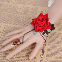 Wholesale Lolita Black Lace Red Handmade Flower Charm Bracelets Rhinestone Ring Wrist Strap Bridal Jewelry Accessories Christmas Gifts