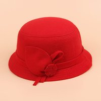 Wholesale Chic Women Lady Woolen Cloche Caps Stylish Girl Solid Color Flower Billycock Vintage Red Bowler Derby Hats EJR4