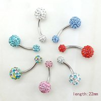Wholesale Latest Fashion Surgical Steel Rhinestone Barbell Curved Bars Navel Belly Button Rings Body Piercing Jewelry Support Mix Order