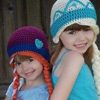 Wholesale Hot sale Frozen Anna ELsa Lovely winter warm handmade knit hat Girls Ski cap with hair Y