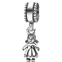 baby crystal bracelets - 925 sterling silver baby girl shaped beads European charm pendants charming fit Pandora Bracelet snake chain jewelry
