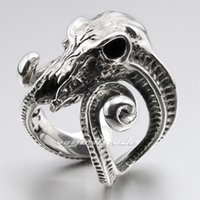 aries steels - Large Ran Skull Horn Aries L Stainless Steel Mens Biker Punk Ring R005 US Size to