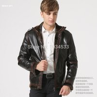 air pur - Fall HEER GOOS Fashoin Pilot Style Pilot Leather Coat Air Force Wool Cashmere Pur Warm Jacket