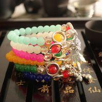 Wholesale Fine Jewelry Natural Onyx Garnet Bracelet Semi Precious Stone Beads Bracelets Elephant Lucky Charm Bracelets Girls women mens Christmas Gift