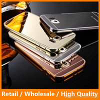aluminun case - Gold Plating Mirror Acrylic Case Aluminun Metal Cover for Samsung Galass S6 S6edge Anti knock Shockproof Phone Bags