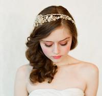 Wholesale 100 Handmade Vintage Europe Bride Golden Pearls Crystal Rhinestones Wedding Hair Accessories Luxury Tiara Bridal Headband