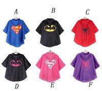 Wholesale DHL Superman Raincoat Kids Superhero Capes Raincoat Children Superman Spiderman Batman Rain Coat Children Raincoat Rainwear