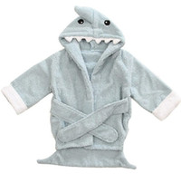 Wholesale 30pcs Baby Infant Cartoon Modeling Pure Cotton Wicking Robes Owl Shark Hippo Panda Lion Little Monsters Children Night robe Bathrobe L1288