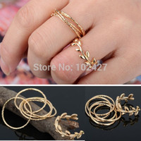 Cheap 7PCS Set Rings Urban Gold Plated Crystal Plain Cute Above Knuckle Ring Band Midi Ring