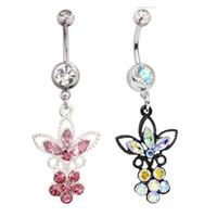 Women's ab bars - AB Crystak Shine ButterFly Dangle navel ring L stainless steel body piercing jewelry belly button Bar Summer Beach