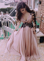 Cheap Sheer Long Sleeves Evening Dresses Sexy Deep V Neck A Line Chiffon Skin Pink with Black Appliques Lace Up Back Women Formal 2015 Prom Gowns