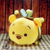 achat en gros de miel porte gros-Gros-originale Tsum Tsum Mini peluche Honey Pot Collection Bumble Bee transporteur sacs fourre-tout Ours Tigrou Porcinet Bourriquet Cadeaux mignons Peluches