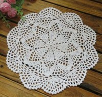 Wholesale cotton lace hand made Crochet doilies cup mat Round Doily