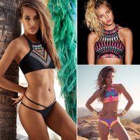 Wholesale Vintage Bikinis Womens High Neck Top Bikini Set Sexy Print Push Up Swimwear Halter Cross Back Bathing Suit Beachwear CCF02
