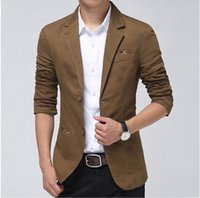 Wholesale Casual Blazer Men Khaki Brown Black Fashion Slim Mens blazer suit jacket spring autumn ternos masculino