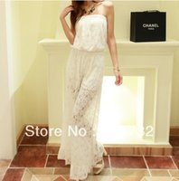 Lace,Cotton,Spandex Regular Sheer Free Shipping New Women Jumpsuits And Rompers 2013 Sexy White And Black Lace Trousers One Piece Jumpsuit Wide Leg Pants Boot Cut