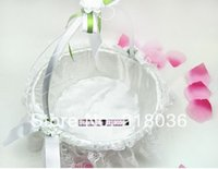 Wholesale White Circula Lace Wedding Baskets Wedding Decoration Party Bride Supplies Ceremony Case Satin Bowknot Flower Baskets N1445