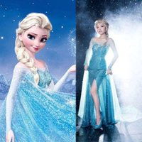 Wholesale 2015 Babyonline Cheap Details Dis ney Frozen New Blue Princess Costume Cosplay Adult Women Lady Girls Tulle Elsa Dress S M L