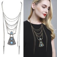 Wholesale Europe and the United States new Turquoise tassel sweater chain multi long jewelry trade manufacturers supply models