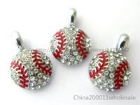 Wholesale 10pcs10pcs Baseball Hang Pendant Charms Fit Pet Collar Phone Strips Rhinestone Hang Pendant Charms Fit Pet Collar Phone Strips
