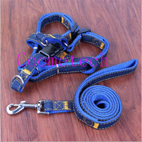 basics materials - Denim material soft dog harness leash set small medium large pet dog collar leads adjustable pets collars traction rope with colors