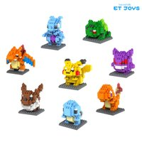 Wholesale 8Pcs Pocket Monster Building Blocks Set Include Mewtwo Gengar Bulbasaur Squirtle Eevee Charmander and Charizard Blocks Toys