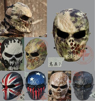 Wholesale Highlander Camo Wargame Paintball Mask Outdoor army Full Face Airsoft Tactical Skull Cosplay Masks Multi Color Freeship