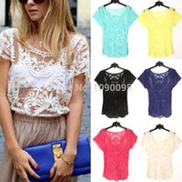 Wholesale Women Summer Sexy Hollow Out Blouse Embroidered Floral Lace Crochet Short Sleeve Shirt knitwear Lace Tops Hollow out lace tops