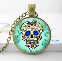 american sugar - P Custom Necklace Sugar Skull Silver Finish Pendant Necklace Handmade Long Necklace Day of The Dead Jewelry