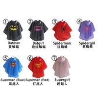 Wholesale 2015 colors superman batman spiderman superhero kids waterproof Rain Coat Raincoat Rainwear Rainsuit with bags G185