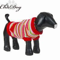 Оптово-щенок с капюшоном свитер полосой собаку одежда осень и зима плюшевый VIP одежды кошки свитер