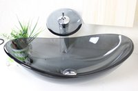 Wholesale Gray Glass Tempered Glass Vessel Sink With Waterfull Faucet Set N