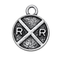 antique railroad signs - 100pcs Railroad Crossing Road Sign Charm DIY Finding Pendant Antique Silver Plated For Handmade Jewelry
