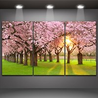 beautiful home landscape pictures - Sakura Tree Cherry Blossom in The Morning Light Beautiful Landscape Panels Oil Painting Print on Canvas for Home Office Hotel Wall Decor