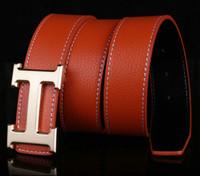 men suit fashion - Fashion Luxury designer leather belts for men women letter H Metal belt Buckle brand Designer Jeans Office Business suit waist belt strap