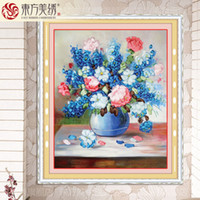 Wholesale silk Ribbon embroidery flower paintings new arrival cross stitch flowers needlework