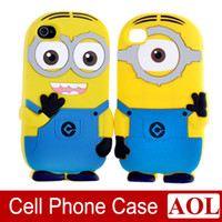 Silicone 3d iphone 4 case - 3D Cute Cartoon Despicable Me Minions Soft Silicon Case Cover For iphone quot plus inch s c s samsung note4 note3 S5 s4 s3
