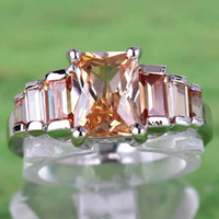 bezel set emerald rings - 2015 A0055 Round Topaz Lady Engagement Sapphire Hot Sales Emerald Cut Morganite Gemstones Silver Ring Size