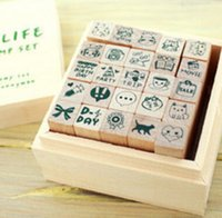 Wholesale Wooden Diary Decoration Stamp Children Cartoon Craft Stamps Lovely Stamp Sets Promotion Gift